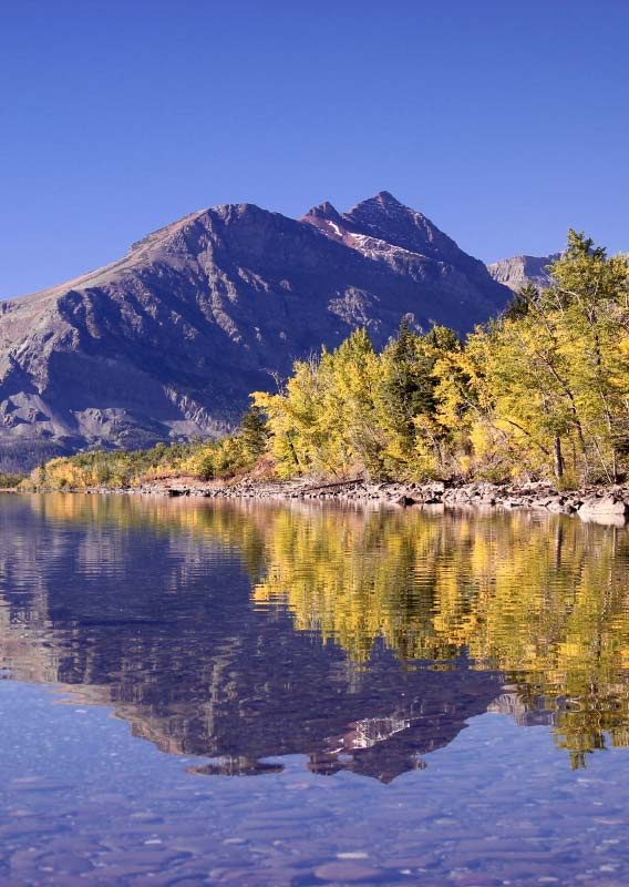 A clear lake below yellow trees and rocky mountains.