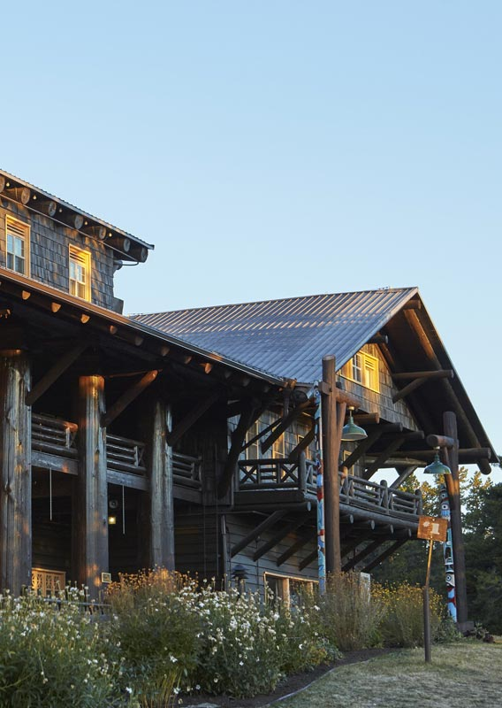Glacier Park Lodge, with columns of Douglas Fir shines in the sunlight