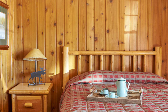 Quaint motel room with natural pine walls, wood accented furniture and a queen bed