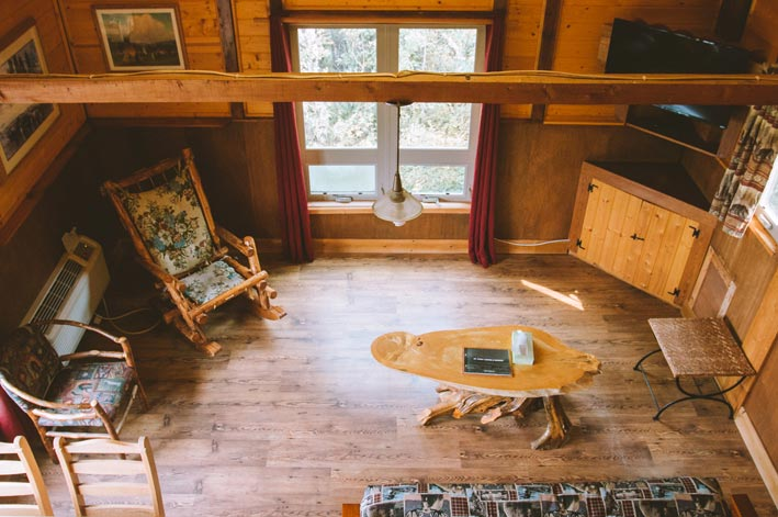 The interior of a wooden cabin
