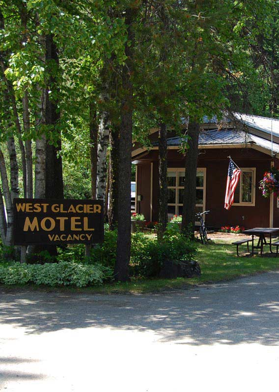 West Glacier Motel underneath shady trees