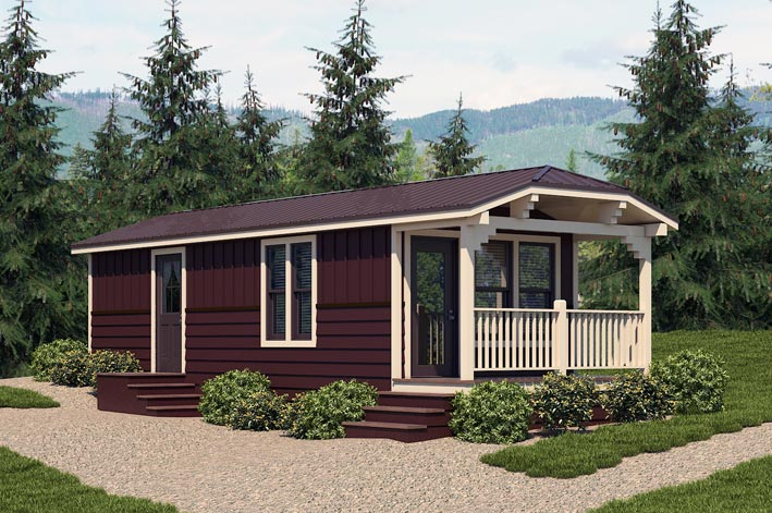 Rendering of Middle Fork cabin with Glacier National Park backdrop