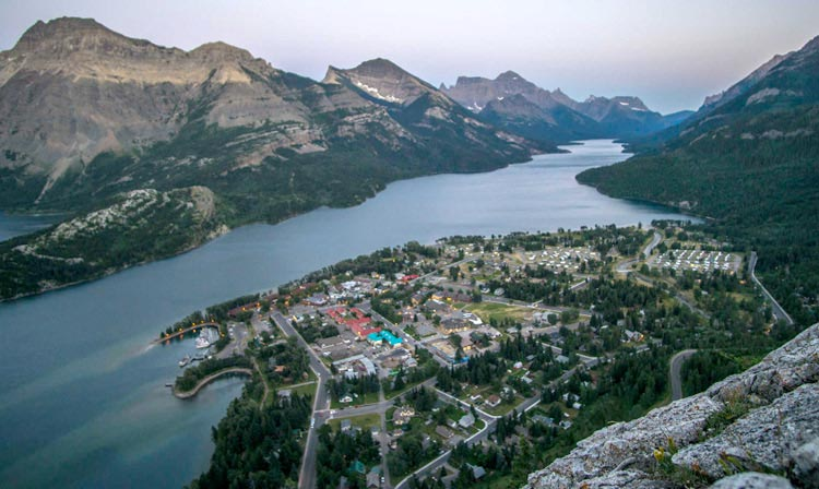 View over Waterton Lake and the town of Waterton
