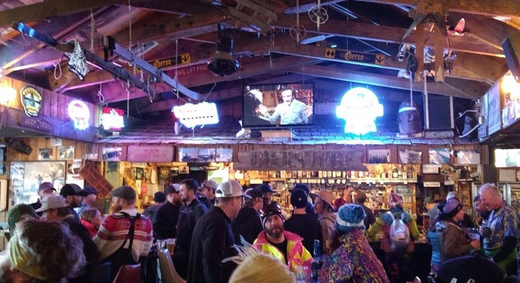 The Local Ski Crowd enjoying the Bierstube bar after skiing
