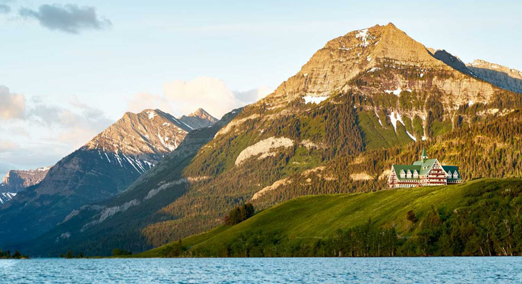 Prince of Wales Hotel sits on a bluff overlooking Waterton Lake