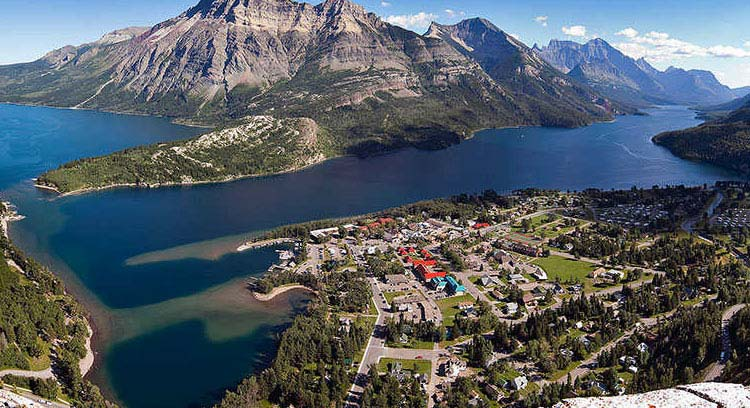 The view of Waterton town and lake from the top of Bear Hump.