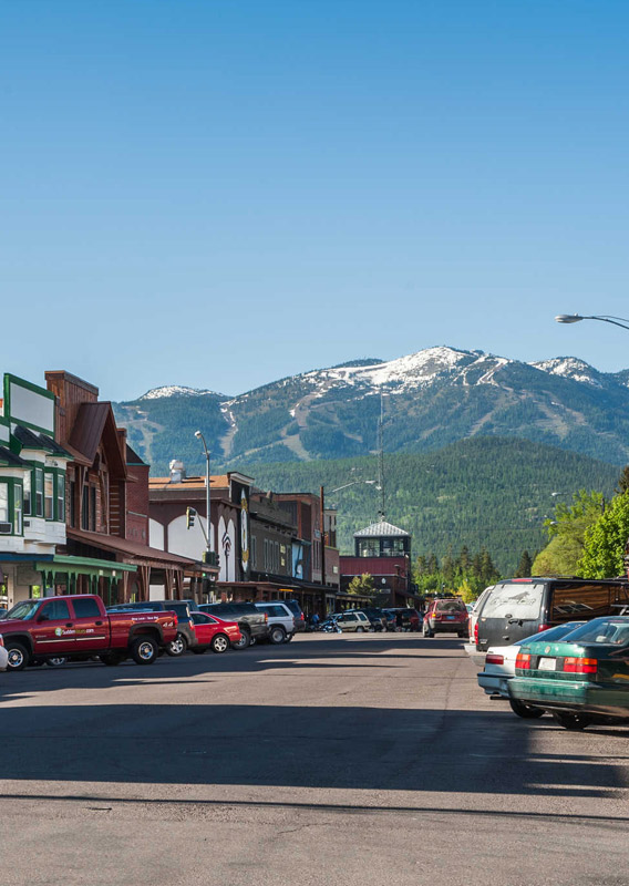 A view down Central Avenue in downtown Whitefish, Montana, looking towards Whitefish Mountain Resort