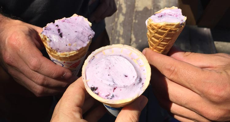Three cones of purple ice cream held together by three people