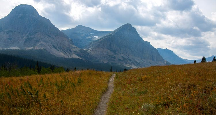 A trail cuts through an orange alpine meadow with tall rocky peaks behind.