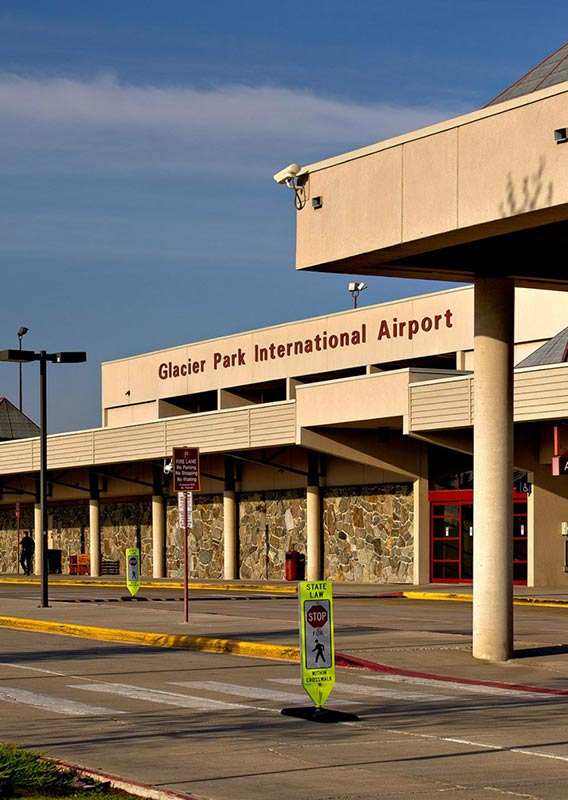 The airport terminal at Glacier Park International Airport