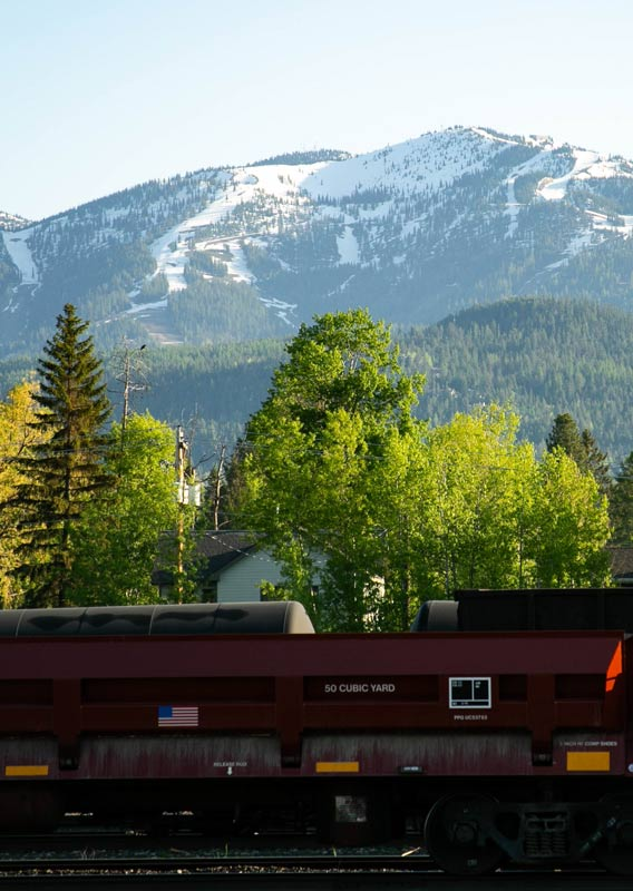A panoramic view of orange and green trees below snow-covered mountains across from Whitefish Lake.