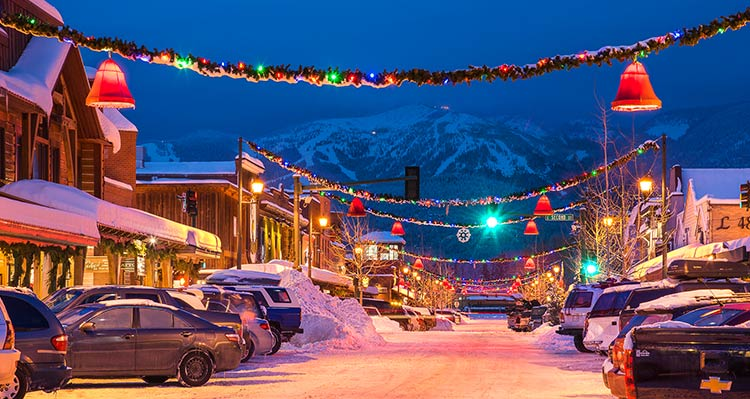 A view of Central Ave decorated for Christmas in downtown Whitefish