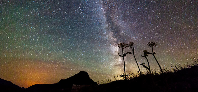 colorful starry night sky with the milky way
