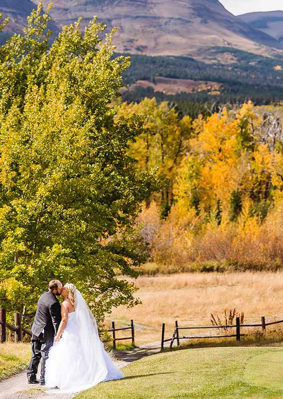 Bride and groom kissing at the edge of a field, with forests and mountains behind