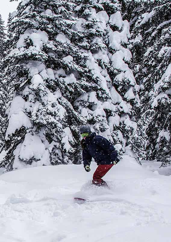 Skiier and Snowboarder going through knee deep powder snow